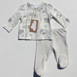 Angel Dear Elephant Shirt & Footie Pants Set Nb